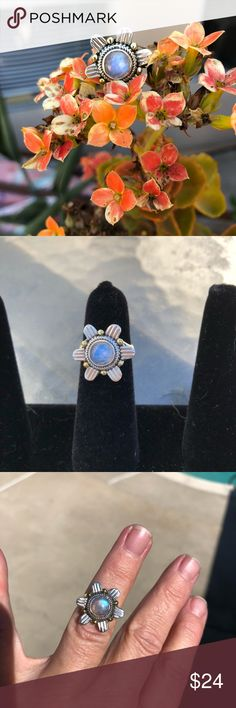 Moonstone Sterling Silver Sun Design Ring Sz 7 Two tone sterling silver. Stamped as pictured. New never worn Jewelry Rings