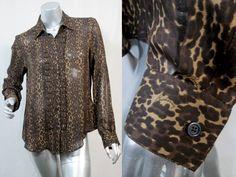 BURBERRY Silk Leopard Print Shirt Button Front Logo Print Brown Black Tan $650 #Burberry #Blouse
