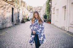Blue & White Floral Trench