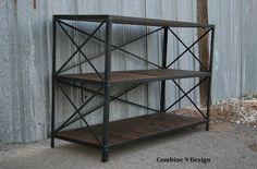 Vintage Industrial Shelving Unit Steel Reclaimed Wood Mid Century Modern | eBay