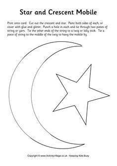 Star and crescent moon mobile template