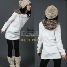 Abrigos de mujer otoño Hoodies leopardo sudadera superior abrigos Parka