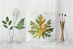autumn leaf painting patterned plant original art ooak