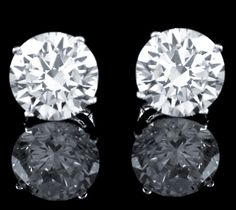 3.00 CT BRILLIANT ROUND CUT BASKET SCREWBACK EARRINGS SOLID REAL 14K WHITE GOLD #AffinityHomeShopping #Stud