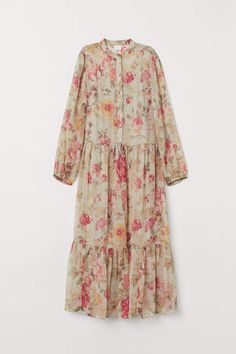 Dress with Flounce - Light dusky green/floral - Ladies Muslim Fashion, Hijab Fashion, Fashion Art, Womens Fashion, Fashion Design, Islamic Fashion, Sleepwear Women, Pajamas Women, Mode Abaya