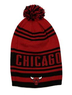 Chicago Bulls Red and Black Long Pom Knit Hat Sock Store 6834f8abe