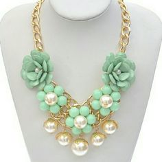 Sold Flower necklace Pearl dangle flower lined statement necklace Jewelry Necklaces