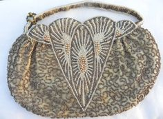 Vintage 1920's art deco beaded evening bag by