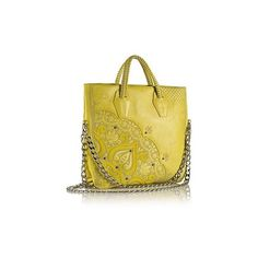 Nada Sawaya B LULA - Laser-Cut Crossbody/Tote - Yellow ($1,080) ❤ liked on Polyvore featuring bags, handbags, tote bags, yellow, cross body purse, vintage leather tote, genuine leather tote, vintage tote and tote