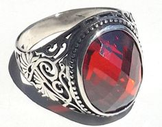 Free Shipping & Free Resizing 925 Sterling Silver Men's Ring with Totally Handmade Absolutely Unique Precious Real Ruby