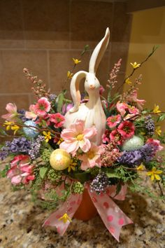 Spring Bunny Arrangement With Glittered Eggs by kristenscreations