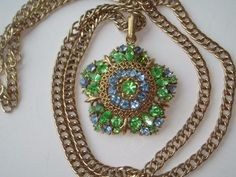 $19.99 - Vintage Lisner Green Rhinestone Pendant w/ Long Thick Chain Necklace
