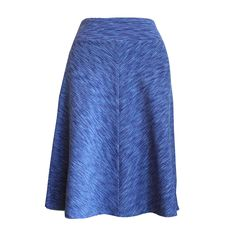 """Four Panel Miter Skirt in """"Shades of Blue"""" $120.00 This funky a-line skirt is easy to wear, super flattering and great for travel, yoga, bicycling, frolicking in the park or any adventure you may encounter. By Melanie Grace Designs."""
