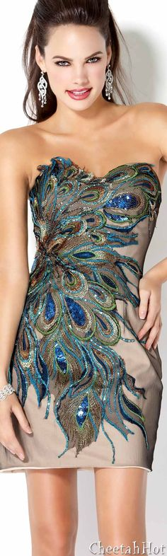 Peacock feather patterned dress. Very cute peacock inspired dress. Perfect as a rehearsal dinner dress or bridesmaids' dresses for a peacock feather themed wedding.