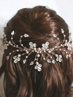 Rose Gold Handmade Pearl & Crystal Bridal Half Halo by Arianna Tiaras