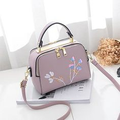 Floral Embroidery Women Leather Handbag Flap Small Bags For Lady Girl 2017  New Design Crossbody Female Messenger Bags 74d05bd22eb38