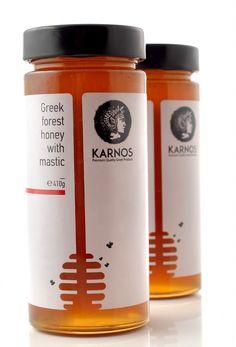 squeeze creative workshop – KARNOS honey – Design is art Honey Packaging, Glass Packaging, Food Packaging Design, Packaging Design Inspiration, Branding Design, Packaging Snack, Design Agency, Honey Jar Labels, Honey Label