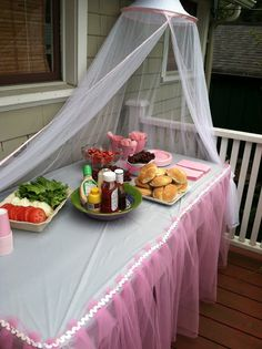 tulle tent - good idea for serving food outside! Something like this..maybe?