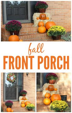 Fall Front Porch >>>> I absolutely adore this time of year, as well as decorating our house, so it makes my heart so happy to see my fall front porch all decked out in fall goodness. This year, by far, is my favorite way I've decorated the steps so I think I'll stick with the hay bales, pumpkins and mums!