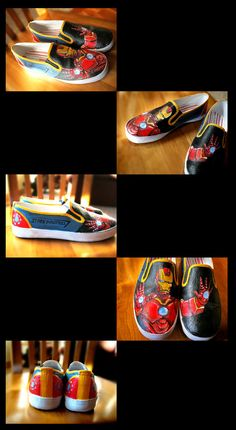 Iron Man custom painted shoes for SALE- by Clairictures