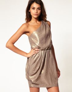 metallic one shoulder dress. suckerrr for one shoulder!
