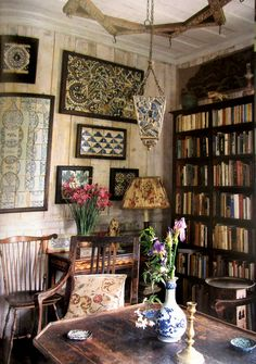 Framed tiles in the Tangier garden cottage of Umberto Pasti; photographed by Christopher Simon Sykes featured in the world of interiors