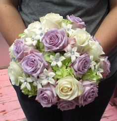 Beautiful Bridal Bouquet made with Lavender and Ivory Roses, Green Hydrangea and White Stephanotis with diamond accents!
