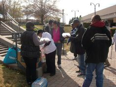 HFOFF passing out meals to the homeless downtown Atlanta at Edgewood & Auburn Ave