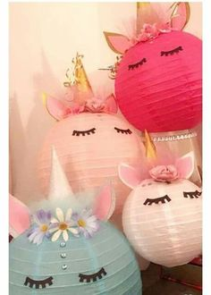Unicorn paper lanterns #GirlsRoomStickers