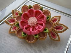 Handmade Kanzashi Tsunami fabric flower grosgrain ribbon french barrette - hair…