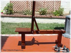 Weight Bench Position,Flat/Incline) Doubles As Patio Bench - Picture of Finished Weight Bench Pictures - Home Made Gym, Diy Home Gym, Home Gym Decor, Home Gym Bench, Patio Bench, Incline Bench, Basement Gym, Garage Gym, Weight Benches