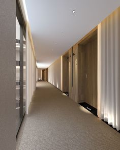 Hotel corridor with voile curtains and low level up lighting. Adds some real softness to the interior finishes. Hotel Corridor, Hall Hotel, Hotel Hallway, Spa Hotel, Hallway Carpet, Corredor Do Hotel, Corridor Lighting, Elevator Lobby, Deco Luminaire