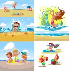 cartoon children summer beach vector