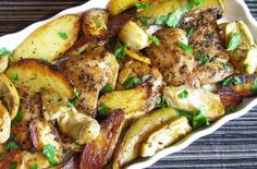 Potential Welcome Home/Belated Birthday Dinner: Roasted Chicken Thighs with Potatoes, Artichokes and Lemon
