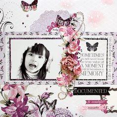 """Documented"" Layout by Kaori Fujimoto Scrapbook Blog, Scrapbook Albums, Scrapbooking Layouts, Flower Wall, Flourish, Crushes, Card Making, Bloom, Lily"