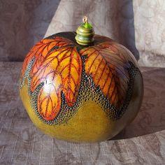 Sage green apple gourd box with carved leaf by VestedInterest