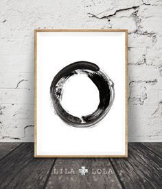 Contemporary Art Brush Stroke Circle Print Black by LILAxLOLA