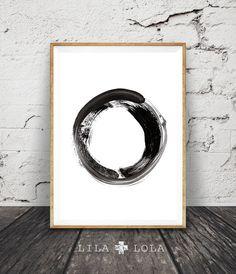 Minimalist Brush Stroke Circle Print Black and White by lilandlola
