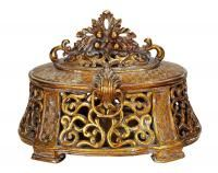 Cutout flourishes and an aged golden finish lend antique-inspired style to the DecMode Polystone Box - x in. This exquisite box features a. Decorative Objects, Decorative Pillows, Decorative Boxes, Antique Boxes, Old World Charm, Home Decor Outlet, Joss And Main, Accent Pieces, Jewelry Box