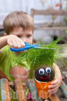 Grass Heads for Kids - these Grass Heads are so so easy to make and super fun to…