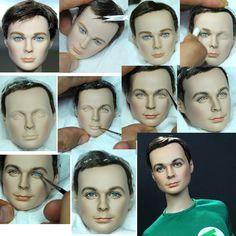Big Bang Theory Sheldon Cooper doll repaint steps by noeling