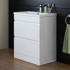 Taylor 600mm High Gloss White Double Drawer Basin Cabinet