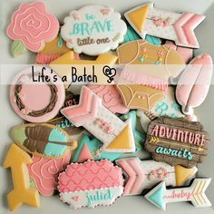 "The sweetest assortment of baby cookies I've made to date! ""Adventure Awaits,""…"
