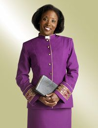 Women's Clergy Jacket purple with gold metallic trim Church Attire, Church Suits, Priest Robes, First Communion Dresses, Kirchen, Looking For Women, Women Wear, Pencil Skirts, Roman Catholic