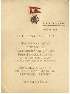 Tea on the Titanic. Menu for the last afternoon tea the Titanic would have. Rms Titanic, Titanic Ship, Titanic Sinking, Belfast, Southampton, Titanic Artifacts, Historical Artifacts, Vintage Menu, Vintage Stuff