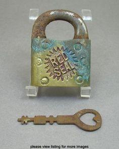 Vintage Red Seal Steel Brass Lock Padlock with Key Under Lock And Key, Lock Up, Key Lock, Knobs And Knockers, Knobs And Handles, Door Handles, Old Keys, Antique Keys, Key To My Heart