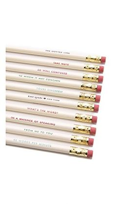 Kate Spade has done it again with this set of wooden cute pencils. Each pencil has a unique phrase etched on the side in a different color. Too cute! Product Specs: 10 x pencils Wooden Sharpened Eraser ends