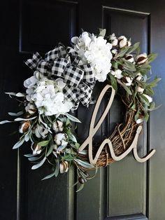 Buffalo Plaid and Cotton Wreath Fall Wreath Winter Wreath | Etsy Spring Front Door Wreaths, Holiday Wreaths, Olive Wreath, Initial Wreath, Cotton Wreath, Front Door Design, Hydrangea Wreath, Porch Lighting, Summer Wreath