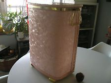 Vtg 50's Pretty Pearl Wick Pink Shell Laundry Clothes Hamper Storage Wicker.  Mom had this in black