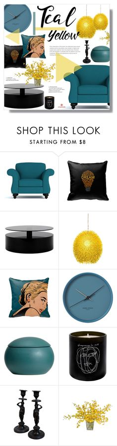 """Teal + Yellow + Black"" by alexandrazeres ❤ liked on Polyvore featuring interior, interiors, interior design, home, home decor, interior decorating, Varaluz, Maison Bereto, The French Bee and homedecor"